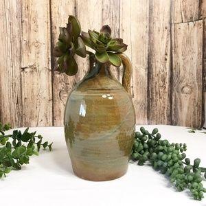 Vintage Pottery Jug Vase Green Brown